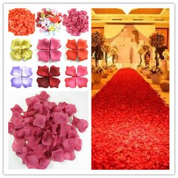 Wholesale Colorful Bridal Shower - Fiancee 1200pcs Colorful Rose Petals Artificial Flower Wedding Party Vase Decor Bridal Shower Favor Centerpieces Confetti