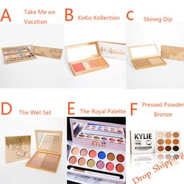 Wholesale Red Wine Powder - Kylie Jenner TAKE ME ON VACATION Matte Velvet Kyshadow KoKo Kollection THE WET SET SKINNY DIP Royal Palette Pressed Powder Bronze In Stock