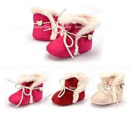 Wholesale Wholesale Fur Lace Up Boots - Christmas Winter Baby Walking Shoes Infant First Walking Leather Boots Children's Boot Baby 100% Handmade Shoes 0-1T for boys and girls