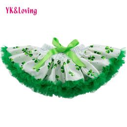 Wholesale wear summer clothes for winter - St. Patrick Day Girl Tutu Skirt Green Shamrock Toddler Kids Skirts Tutu Pettiskirts Satin Ruffle Gift for Baby Girls Wearing Clothing 0-2Y