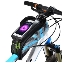 Wholesale Road Bicycle Bags - ROCKBROS MTB Road Bicycle Bike Bags Rainproof Touch Screen Cycling Top Front Tube Frame Bags 5.8 6.0 Phone Case Bike Accessories