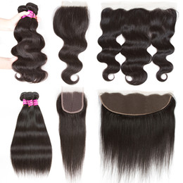 Wholesale Peruvian Straight Closure Piece - Brazilian Virgin Hair Body Wave with Lace Frontal Malaysian Peruvian Hair Bundles with Lace Closure Straight Body Wave Human Hair Extensions