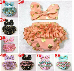 Wholesale Tutu Boutique Wholesale - Girls Bloomers Headbands Set Baby Gold Polka Dot Hairband Ruffled Shorts Infant Boutique Diaper Covers Toddler Cotton Pants Underwear
