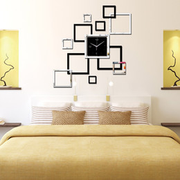 Wholesale Wall Sticker Clock Diy - Wholesale-2016 new large wall clock modern design acrylic mirror Quartz watch diy stickers home decor 3d clocks relogio de parede clock