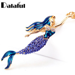 Wholesale Enamels Cross - beijia Mermaid Sea-maid Key Chains Rings Holder Enamel Crystal Purse Bag Buckle Pendant For Car Keyrings KeyChains K270