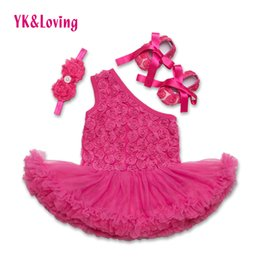 Wholesale Knee Length Rompers - Fashion Baby Girl Rompers Dress Rose Flower Print Princess Dresses 3 pcs Sets Newborn Infant One Shoulder Clothes Z203