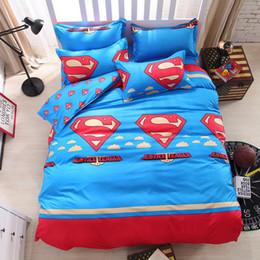 Wholesale Superman Duvet Cover - Free shipping! Home textiles Cartoon Superman Returns bed linen for children King size Quilt Duvet Cover Pillow Bedding Sets