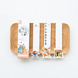 Wholesale Panda Papers - 6 Set Lot Animal Bookmarks for Book Marker Love You Memo Note Cartoon Cat Dog Panda Paper Stationery Office School Supplies