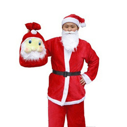 Wholesale Costume Mens - 5 Pcs f Christmas Costumes Santa Red Mens Costume Luxury Suit Adult Novelty Cloth Santa Claus Costume Free Shipping