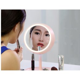 Wholesale Makeup Mirror Bulb - Beauty Women Makeup Mirror Lamps Table lamp USB Rechargeable LED Cosmetic Makeup Mirror Gift With Circular Base