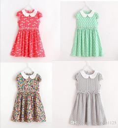 Wholesale Baby Doll Sleeves Dress - 2017 new arrivals Doll Collar Artificial silk DRESS girls printting dress cute baby summer short sleeve dress 5 colors
