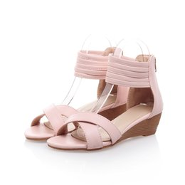 Wholesale Cool Zipper Shoes - Japanese sweet style comfortable summer cool sandals fashion zipper black beige pink women's flat shoes