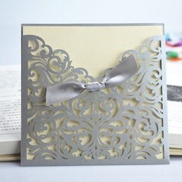 Wholesale Invitations Unique Design - Wholesale- High Quality Laser Cut Unique Design Bow White Hollow Out Wedding Invitation Card For Party Supply 20 Pcs Lot Free Shipping