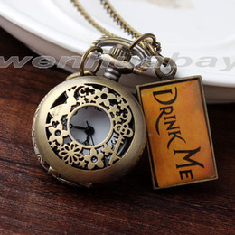 Wholesale Pocket Watch Alice - Wholesale-2015 New Alice In Wonderland Drink Me Mini Pocket Watch Necklace Rabbit Flower Key Gift DRINK 101-1