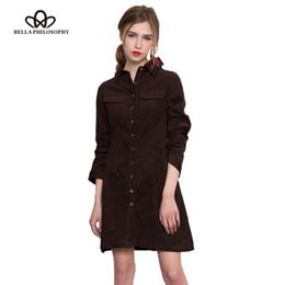 Wholesale Corduroy Shirt Dresses - Wholesale- Bella Philosophy 2017 spring autumn new solid corduroy cotton slim women long shirt dress