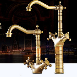 Wholesale Fix Bathroom - Hot and Cold Bronze Swivel Lavatory Bathroom Vanity Water Faucet Copper Bath Bibcock Toilet Rotating Restoring Ancient Ways