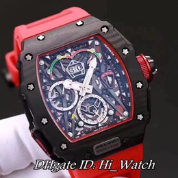 Wholesale Mens Skeleton Dial Watch - Super Clone Luxury RM 50-03 McLaren F1 Forged Carbon Caseback KVF Big Date skeleton Dial Automatic Mens Watch Red Rubber Gents Watches RM02