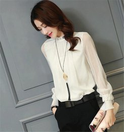Wholesale Pleated Sleeve Blouse - Chiffon Blouse 2017 New Women Tops Long Sleeve Stand Neck Work Wear Shirts Elegant Lady Blouses Casual Solid Color