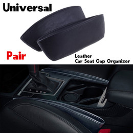 Wholesale Car Side Seat Organizer - 2pcs Creative Car Storage Box Leather Auto Car Seat Gap Pocket Catcher Organizer Leak-Proof Storage Box Auto Bag Container