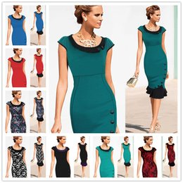 Wholesale Woman Green Fleece Lined - 2017 New Womens Elegant Faux Twinset Belted Cotton Blend Floral Print Patchwork Wear to Work Business Pencil Sheath Bodycon Dress