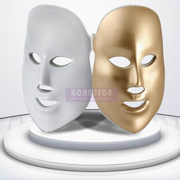Wholesale Golden Face Mask - 2017 Korea protable Golden led facial mask with 3 photon colors for skin rejuvenation acne removal face mask DHL Free Shipping