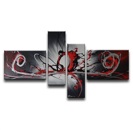 Wholesale Original Painting Handmade - 100%Hand-painted Original High Quality Home Decoration Handmade 4 pcs set Canvas Gray Wall Abstract Oil Painting Gift
