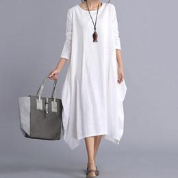 Wholesale Womens Xl Casual Dresses - New Womens Ladies Casual Long Sleeve Loose Cotton Linen Maxi Long Dress Kaftan 2 Colors 4 Size