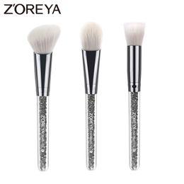 Ensemble de brosse de maquillage zoreya en Ligne-Zoreya Marque 3pcs / Lots Cristal Maquillage Pinceau Pour De Belles Femmes Fondation Brush Blush Make Up Brush Outils