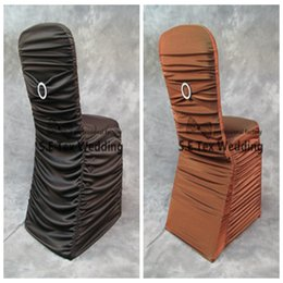 Wholesale Lycra Ruffled Chair Covers - Ruffled Lycra Spandex Chair Cover With Buckle Chair Band For Event Decoration Banquet Wedding Chair Cover Free Shipping