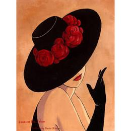 Canada Peint à la main art abstrait dame en chapeau rouge noir belle femme peintures à l'huile pour décor à la maison cheap abstract lady paintings Offre