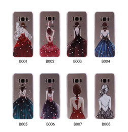 Wholesale Dresses Galaxy - Bling Diamond Cellphone Covers Sexy Girl Lady Soft TPU Case For Iphone 7 7Plus 6 6S Plus Galaxy S8 Plus Gel Fashion Dress Silicone Cover