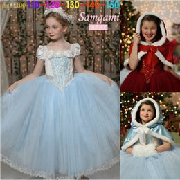 Wholesale Lace Mid Calf Wedding Dress - 2 colors Free shipping Cinderella Kids Dress Retail Princess Girl Dress With cape wedding For Cinderella Cosplay Costume Girl Fancy Dresses