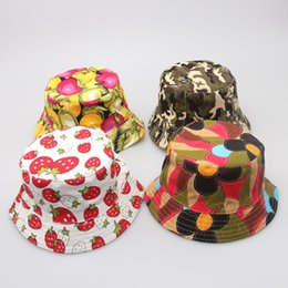 Wholesale Colorful Bucket Hats - 30 Colors Colorful Children Casual Bucket Hats Flower Dot Printed Basin Canvas Topee Good Quality Kids Hats Caps