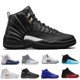 Wholesale Deep Blue Rhinestones - [With Box] Cheap new Air Retro 12 Wool Basketball Shoes Sneakers Women Deep Loyal Blue 12s Black White OVO Gym Red Flu Game Shoes US 5.5-13