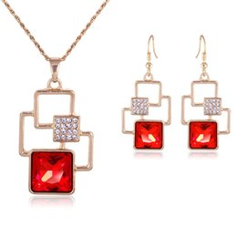 Wholesale Wedding Diamond Earings - New Red Crystal Diamonds Pendant Necklace Earings Jewelry Sets Gold Chain Necklaces Women Bride Bridesmaid Wedding Jewelry Gift 162189