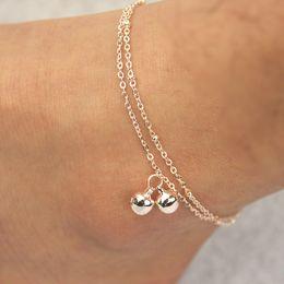 Wholesale Gold Titanium Anklet - Fashion 2 Layers Bell Anklets Jewelry Rose Gold Titanium Steel Ankle Bracelet Foot Chains For Summer Beach Sandals Barefoot