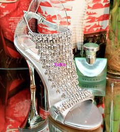 Wholesale Diamond Strap Heel Sandals - women high heels summer new diamond sandals sexy slim all-match party shoes toe high-heeled shoes silver wedding