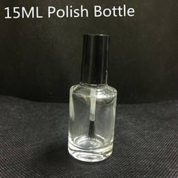 Wholesale Wholesale Matte Polish - 15ml Empty Nail Polish Bottle With Brush Refillable Clear Glass Nail Art Polish Storage Container Black Lid