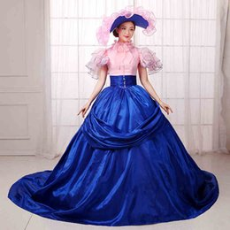 Wholesale Civil War Southern Gown - Rococo Renassiance Costume Party Gowns Blue Pink Southern Belle Civil War Dresses 18th Century Medieval Dresses Women Party Dress Vestido