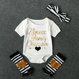 Wholesale Halloween Leg Warmer - Baby girls letters print romper 4pcs set striped headband+newest family obsessions metallic print romper+loving heart leg warmer ins hot