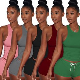Wholesale Yoga Activewear - Womens Sexy Sports Yoga Crop Tank Top and Shorts 2 Pcs Set Tracksuit Cotton Activewear Ladies Athletic Gym Fitness Sets 5 Color Mix Order