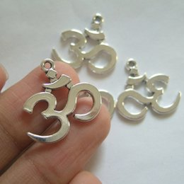 Wholesale aum ohm - Wholesale-20pcs Antique Silver Tone OHM OM AUM Symbol Yoga Double-sided Charms Pendants Beads For Jewelry Making Findings 23x21mm