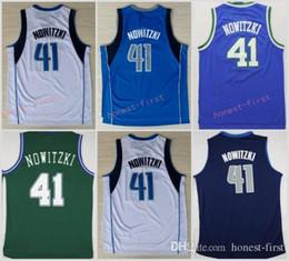 Wholesale Goods For Sport - Men 41 Dirk Nowitzki Basketball Jerseys Wholesale Throwback Dirk Nowitzki Jersey For Sport Fans Green Blue White Embroidery Good Quality