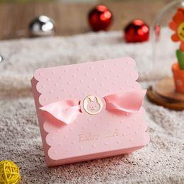 Wholesale Infants Birthday - Cartoon Bear Baby Christening&Baptism Candy Box Elegant Laser Cut Infant Shower Birthday Party Gift Boxes CB5301