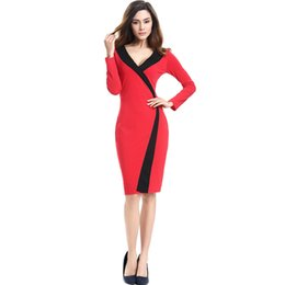 Wholesale Bodycon Dresses Multi Color - 2016 Europe and the United States big star with the simple and elegant V-neck multi-color dress long-sleeved slim dresses AMS010