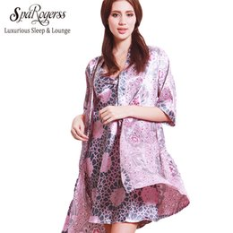 Wholesale Top Robes For Women - Wholesale- SpaRogerss New Summer Women's Bathrobe 2017 Sleep Lounge 2 Piece Luxurious Ladies Nightgowns For Sleep Tops Woman Robes 10173