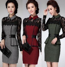 Wholesale long sleeve winter work dresses - Vestidos Casual Dress 2017 Winter Dress OL Elegant Classical Lace Long Sleeve Package Hip Dress new arrive free shipping