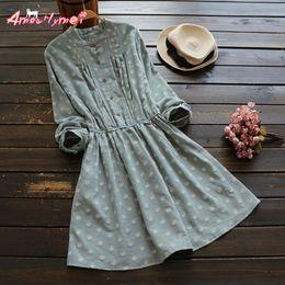 Vintage Flower Print Stand Collar Loose Long Sleeve Dress Mori Girl Vestido 2017  Autumn New Plus Size Women Cotton Casual Dress 60268663acda
