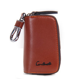 Wholesale Holder Class - Classic New Double Zip Men's Genuine Cow Leather Car Key Holder Multifunction Housekeeper High Class Motor Key Case 1005E