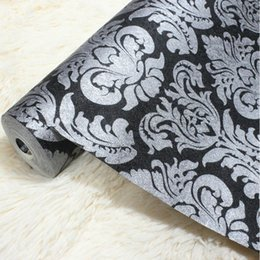 Wholesale Damask Backgrounds - Wholesale- wallpaper Vintage Luxury Black Damask on silver Textured Embossed Wallpaper Embossed Shining Sand PVC Tapete For Background Wall